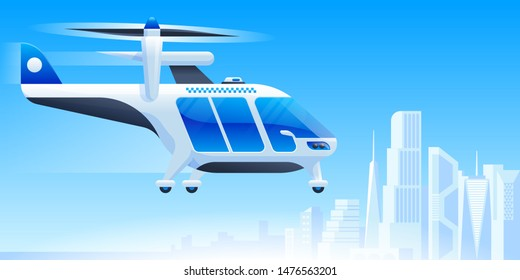 Futuristic air taxi flat vector illustration. Self driving passenger drone, driverless vtol. City travel, urban transportation. Flying cab delivery service. Autonomous flying vehicle, helicopter
