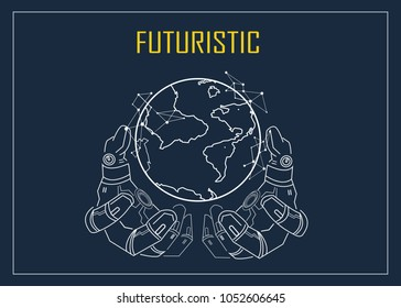 Futuristic android robotic hand holding virtual digital earth globe. artificial intelligence technology will change the world. Vector outline design to poster concept.