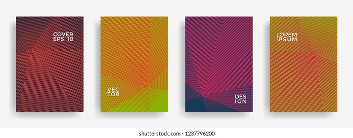 Futuristic annual report design vector collection. Halftone grid texture cover page layout templates set. Report covers geometric design, business booklet pages corporate banners.