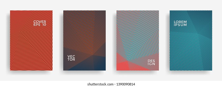 Futuristic annual report design vector collection. Halftone lines texture cover page layout templates set. Report covers geometric design, business booklet pages corporate templates.