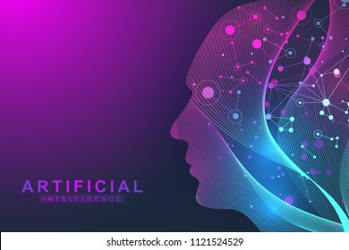 Futuristic Artificial Intelligence and Machine Learning Concept.. Human Big Data Visualization. Wave Flow Communication, Scientific vector illustration