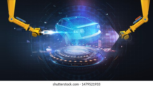 Futuristic Automated robotic arm on the Car production line is welding body on automobile factory. Auto body welding android hand. Futuristic car in style HUD, GUI. 3d illustration