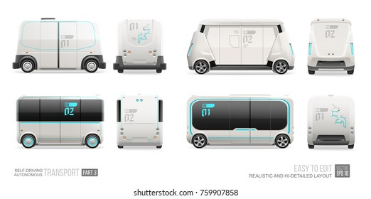 Futuristic Autonomous Driverless mini bus, van vector template isolated on white.  Self driving electric shuttle bus. Autonomous future self driving passenger transport vehicle side and front view