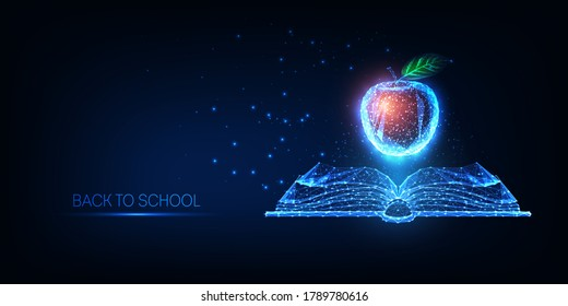 Futuristic Back to school concept with glowing low polygonal open book and red apple isolated on dark blue background. Modern wire frame mesh design vector illustration.