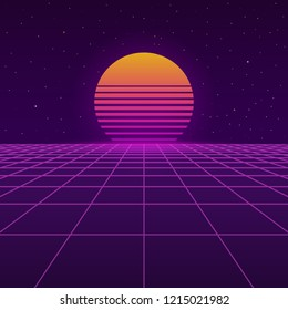 Futuristic background the 80`s. New retro wave. Cyberpunk. Sunset sun on retro cyber surface. Vector illustration.