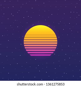 Futuristic background the 80`s with noise. Cyberpunk style sun. New retro wave. Vector illustration.