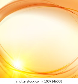 Futuristic background. Abstract smooth yellow lines over orange background for your design. Background of luminous waves. Vector illustration, contains transparencies, gradients.