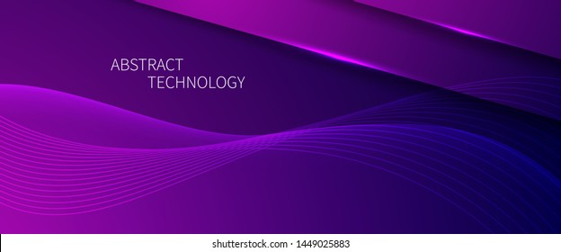 Futuristic background with smooth line. Beautiful waving line in PURPLE neon color. Horizontal banner template. Abstract futuristic template. Technology wallpaper with vibrant color.