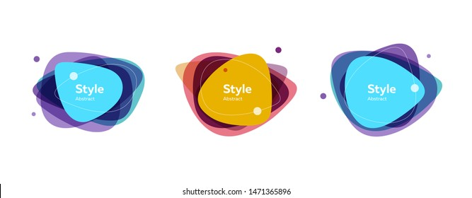Futuristic badges set for banner. Dynamical colored forms and lines. Gradient abstract banners with flowing liquid shapes. Template for logo, flyer, presentation