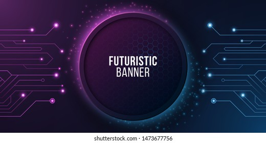 Futuristic banner with computer circuit. Modern tech design. Blue and purple glowing neon honeycombs with flying glowing dust. Vector illustration. EPS 10