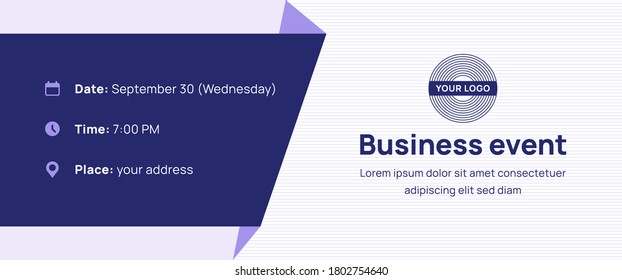 Futuristic banner with logo template and contact information on blue background. Vector design layout for the business webinar, conference, e-mail, flyer, meetup, party, event, web header