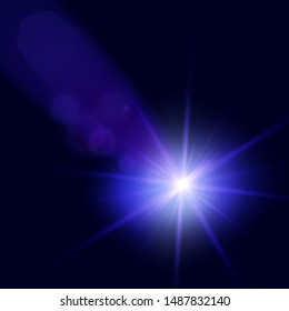 Futuristic Beam Light Effect. Colorful Lens Flare. Star, Explosion and Electric Power Design. Vector