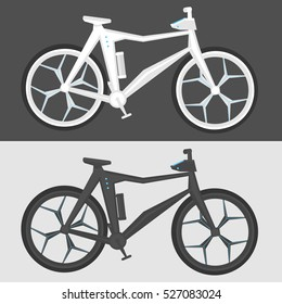 Futuristic bicycle in two colors, light and dark bicycle on isolated gray and white background. Concept design of electric bicycle.
