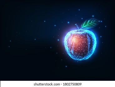 Futuristic biotechnology, food engineering concept with glowing low polygonal red apple isolated on dark blue background. Modern wire frame mesh design vector illustration.
