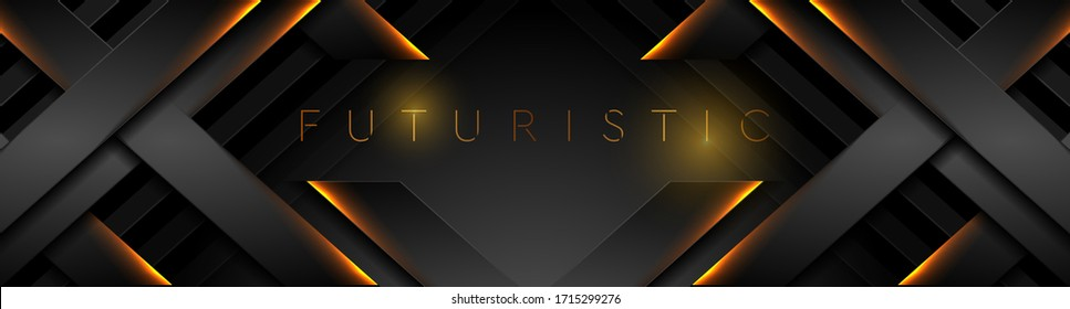 Futuristic black technology background with orange neon lines. Glowing vector banner design