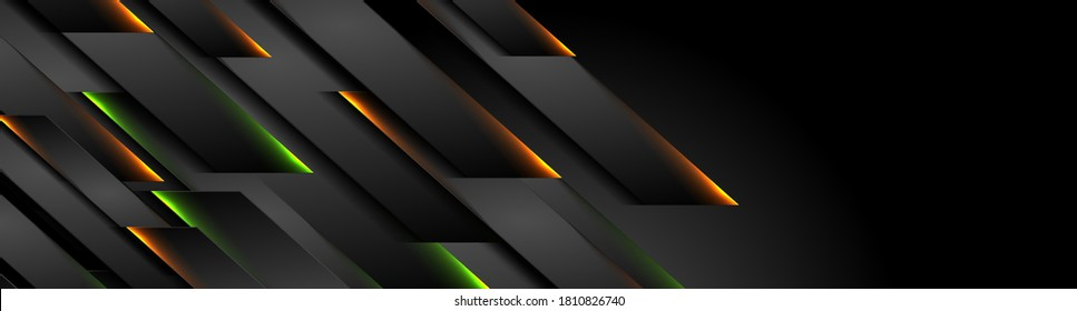 Futuristic black technology background with orange green neon lines. Glowing vector banner design