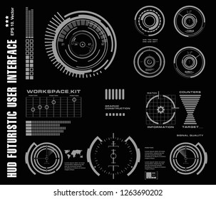 Futuristic black and white HUD, virtual touch user interface in flat design virtual reality technology screen