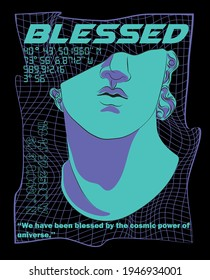 Futuristic blessed slogan print with 3d effect neon grid and sculpture illustration for man - woman tee t shirt or sweatshirt - poster - Shutterstock ID 1946934001