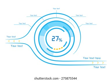Futuristic blue and orange infographics as head-up display on white background