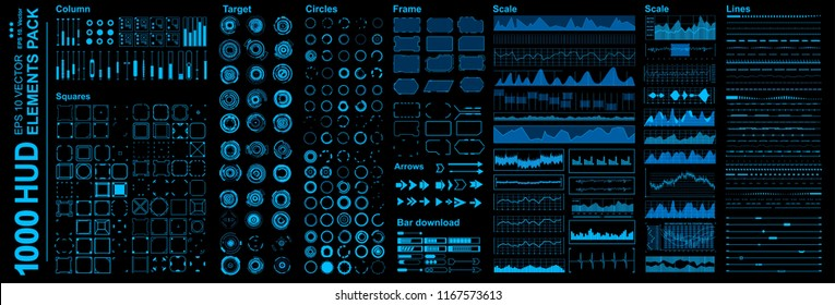 Futuristic blue virtual graphic touch user interface, Mega set Futuristic Hud elements