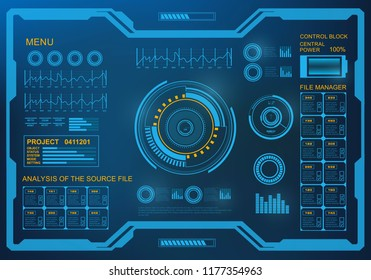 Futuristic blue virtual graphic touch  user interface. HUD user interface.