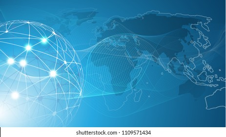 Futuristic Bright Global Technology, Networking and Cloud Computing Design Concept with Globe and World Map - Digital Network Connections, Technology Background