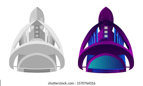Futuristic building vector. Palace of Arts named after Queen Sofia. Futuristic complex of the city of arts and sciences in Valencia.