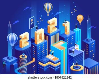 Futuristische Business Stadt in isometrischer Ansicht mit 2021 Zahlen. Happy New Year Business-Konzept. Abstrakte moderne Wolkenkratzer, städtische Stadtlandschaft, Mitarbeiter arbeiten in der Innenstadt. Vektorgrafik-Zeichenillustration