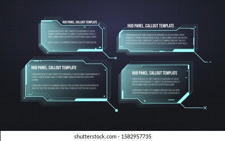Futuristic callout bar labels. Set of HUD futuristic sci fi frame template. Digital info boxes layout templates.