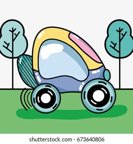 futuristic car on the grass and trees