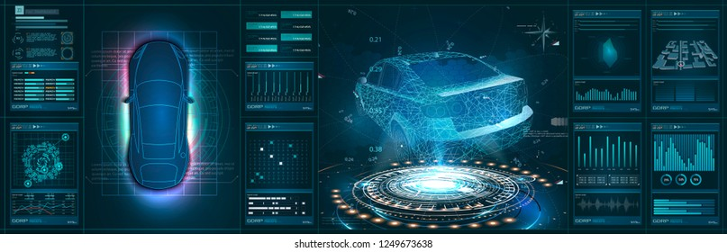 Futuristic car user interface. HUD UI. Hologram of the car, scanning. Abstract virtual graphic touch user interface. Car service in the style of HUD. Virtual graphical interface. Vector Illustration