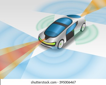 futuristic car and various sensors, Remote Sensing System of Vehicle. smart car, safety car, autonomous car, mirrorless car, view from diagonally and front, vector illustration