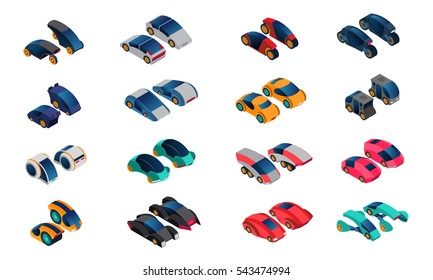 Futuristic cars isometric icons set of conceptual vehicles of new generation isolated vector illustration