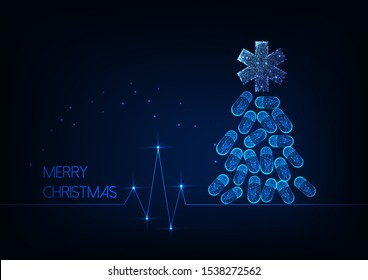 Futuristic Christmas greeting card for medicine staff with glowing low polygonal Christmas tree made of drug pills and star of life symbol, cardiogram on dark blue background. Vector illustration.