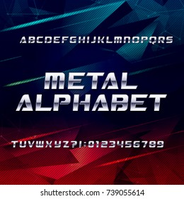 Futuristic chrome alphabet font. Metallic effect oblique letters and numbers on an abstract background. Stock vector typeface for your design.