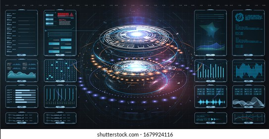 Futuristic circle vector HUD, GUI, UI interface screen design.Vector science abstract. Futuristic user interface with digital infographics and data charts vector electronic scifi hologram concept.