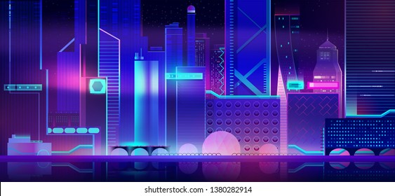 Futuristic city background with glowing neon illumination. Modern megapolis architecture night altitude view of buildings exterior. Urban cityscape residential construction Cartoon Vector Illustration