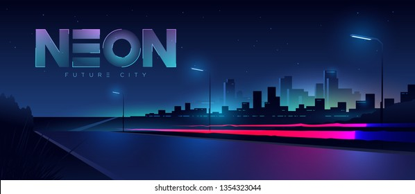 Futuristic city. Cityscape with motion car lights. Wide highway front view. Cyberpunk and retro wave style illustration.