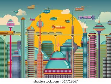 Futuristic city in color. Vector illustration.