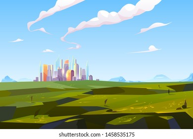 Futuristic city in green valley among mountains, modern megapolis with glass buildings stand on beautiful nature landscape background on summer time, skyscrapers reflect sun Cartoon vector