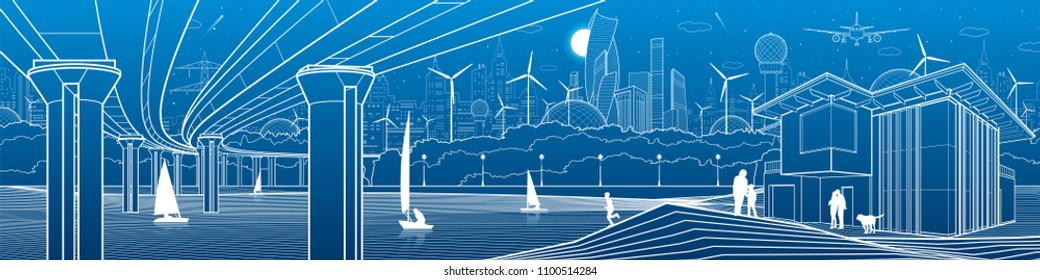 Futuristic City Life. Infrastructure panorama. Industrial illustration. Large automobile bridge. People on the river bank. Modern houses. Airplane fly. White lines, blue background. Vector design art