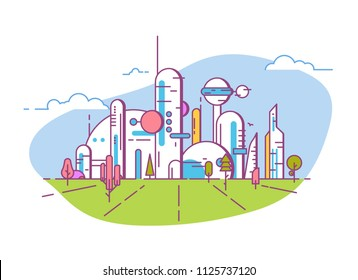 Futuristic city line style banner. Future society. White buildings and skyscrapers, big windows. Blue sky with white clouds and field or park with trees and grass. Eco friendly futuristic megapolis.