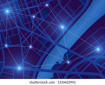 Futuristic city map. Gps location monitor. Top view digital night city. Navigation technology vector background