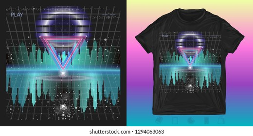 Futuristic city. Print for t-shirts and another, trendy apparel design. Neon style 80s, Retro Sci-Fi