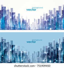 Futuristic City skylines at day and night, vector illustration