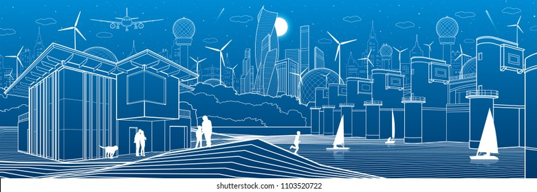 Futuristic City. Urban life. Town infrastructure. Industrial illustration. River dam. Hydroelectric power station. People walking. Modern houses. Airplane fly. White lines, blue background. Vector art