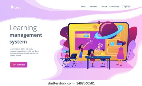 Futuristic classroom, little children study with high tech equipment. Smart spaces at school, AI in education, learning management system concept. Website homepage landing web page template.