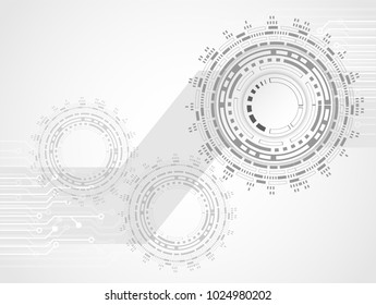 Futuristic clean technology concept,  white paper gear wheel technology circuit board. hi-tech, engineering .vector