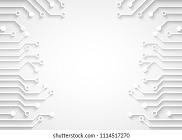 Futuristic clean technology concept.  white paper circuit board. hi-tech, engineering ,  white background ,light and shadow .vector