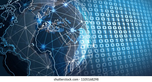 Futuristic Cloud Computing, Network Structure and Telecommunications Concept Design, Worldwide Connections with Earth Globe, Geometric Mesh and 3D Digital Binary Code Patterned Wall Background